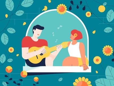 Mindshine Spring Sale 2021 Illustration chill flowerpower flower enjoy singing song springtime spring happy mentalhealth flat design illustration
