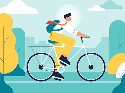 Enjoy the ride rinding bike felicidad happiness enjoy park bicicleta moovster mindshine ride bike move mental health happy flat design illustration