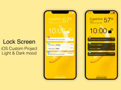 iOS Lock Screen mockups