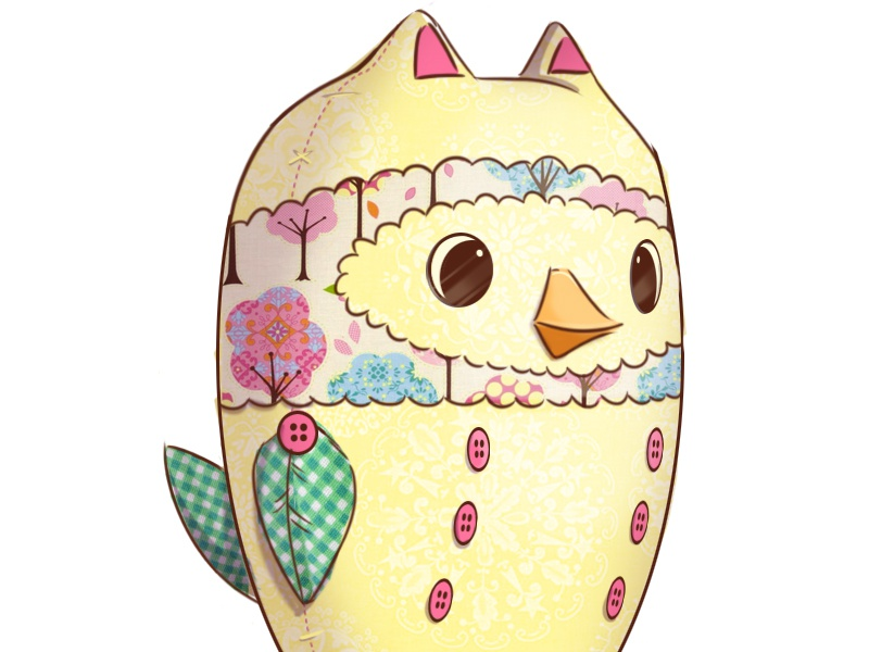Owl Plush Toy Concept illustration cute owl toy fabric pattern concept stuffed animal