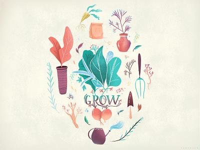 Grow gardening plants concept illustration visual development