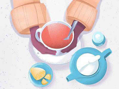 Teatime motion design lemon illustration tea