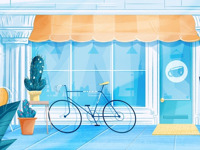 Coffee Stop cactus bike scene illustration background environment design coffee