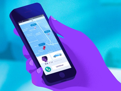 Nexmo Lyft animation motion design illustration map phone ui