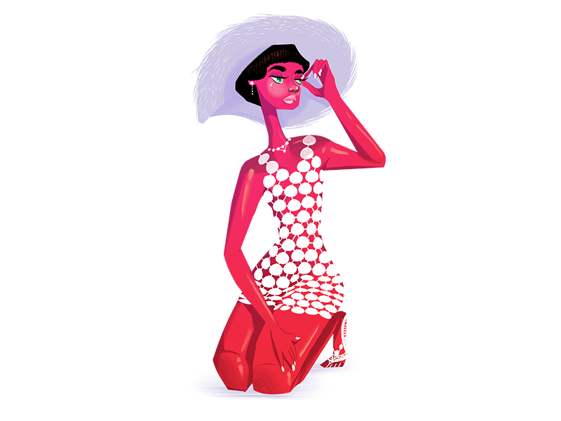 Dottie Dress 1960s sixties female character design illustration