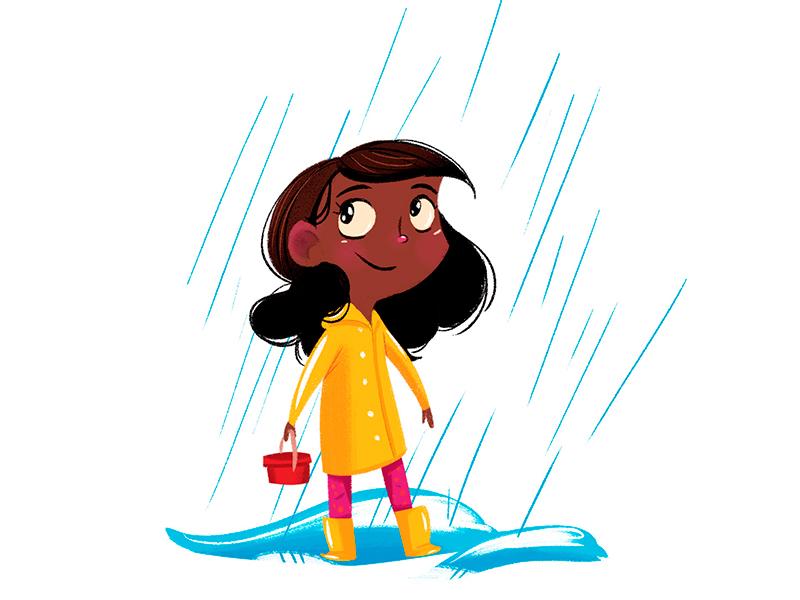 Rainy Day Girl childrens book rain illustration cute character character design
