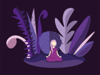 Meditation wild girl design character illustration forest meditation girl vector