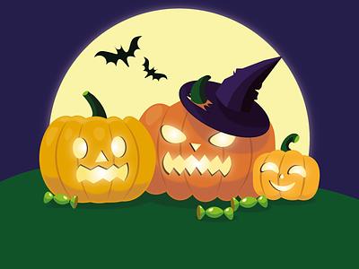 halloween ui digital art digital 2d digital paintig design vector happy halloween illustration art art halloween pumpkins illustration