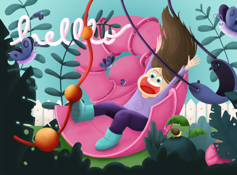Hello Dribbble! happiness excitement nature procreate colorful swing plants slider playful debut design illustration