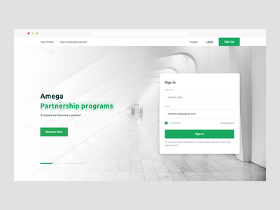 Amega | Partners Website partner crypto page sign in signup traiding ui invite like minimal art app web typography ux design