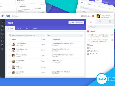 Plutio People dashboard ux ui team sidebar tasks flat modern clean users people crm
