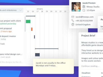 Plutio Projects crm colorful simple clean modern tasks client profile brief timeline gantt chart projects plutio
