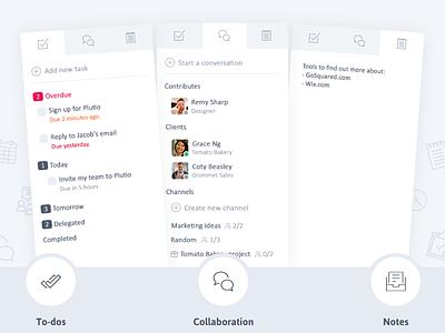 Plutio Sidebar notes mockup interface app collaboration chat tasks productivity flat modern clean sidebar