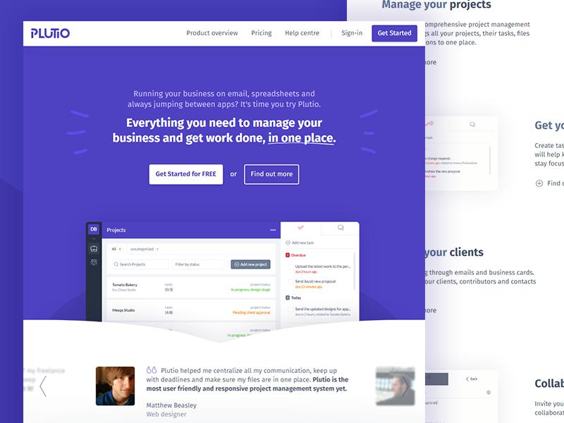 Plutio landing page cta app hero header projects plutio purple saas reviews crm home landing