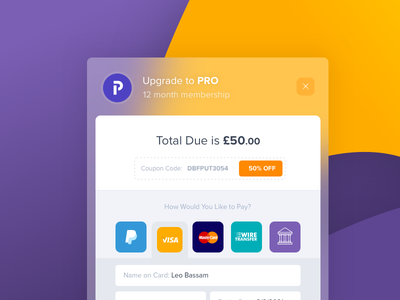 Checkout Concept blurry glass flat modern payment discount bank paypal card credit module checkout