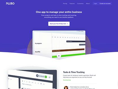 Plutio Website creative purple cta video plutio hero header gif startups saas website