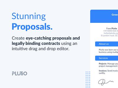 Plutio Proposals drag and drop editor contract proposal template proposals clean flat ux design proposal uxd ui plutio