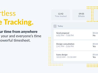 Banner Time illustration ux flat modern clean crm tasks projects time management ux design saas app ui  ux ui plutio timetracking time