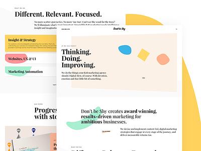 Don't be Shy Website colours illustration shapes agency redesign website desktop