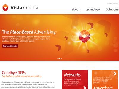 Vistar Media vistar media orange red ui web website box