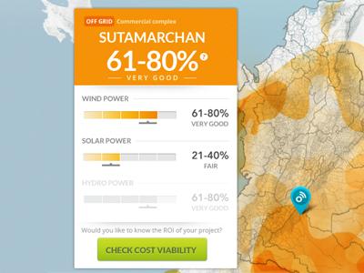 Espectro Dribble renewable map dashboard orange green website app energy heat