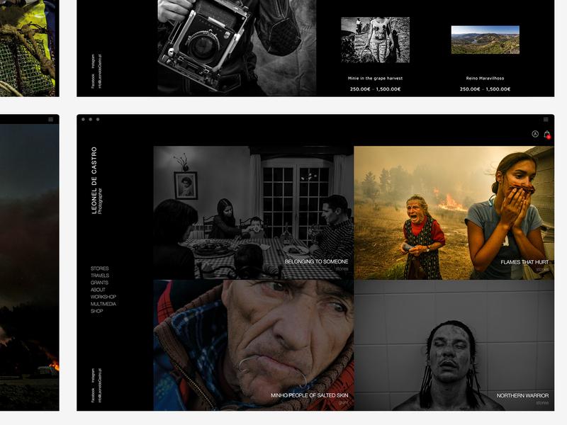 Leonel de Castro | Webdesign journalist portfolio photographer photography webdesign black website black page black ui homepage design homepage home clean website web ux perto design
