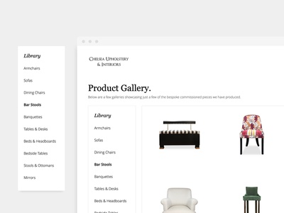 Chelsea Upholstery | Webdesign catalogue design experience design development luxury furniture perto design website clean webdesign web ui ux perto design