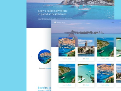 Travel Service Website perto design clean water ocean blue design ux ui websites website agency boats travel