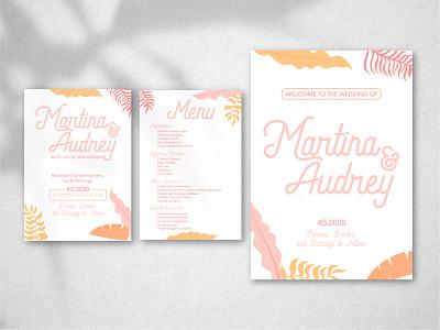 Weddings! - 1 menu sign flyer event leaves typography design graphic design vector art illustration graphic vector illustrator couple lesbian weddings wedding invitation wedding