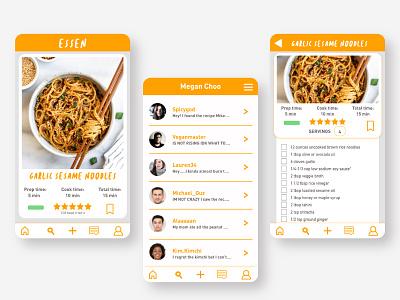 Essen - cooking app vector xd design practice graphic branding ux vector art illustrator graphic design uxdesign ux ui product design