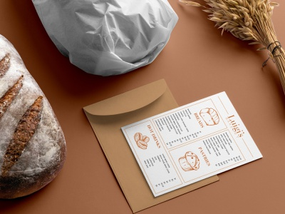 Luigi's Bakery - logo and menu design luigi bakery logo food brand bread food bakery logo design design branding graphic design vector illustrator