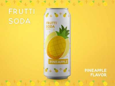 Pineapple Soda branding graphic design vector art illustration vector graphic illustrator drink pineapple fruit dribbleweeklywarmup soda can soda