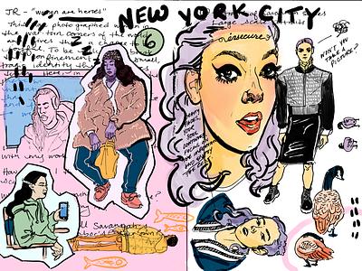 New York City sketchbook fashion collageart collage design illustration