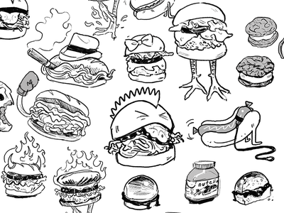 PB-2 Menu Sketches sketches sketch planning characters sandwiches food illustration foodart wip illustration