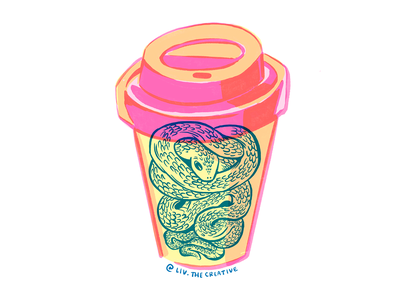 Coffee Snake screenprint lineart sticker design graphic procreate characters illustration