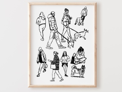 People of Forsyth Park parks and rec art print design graphic lineart characters illustration