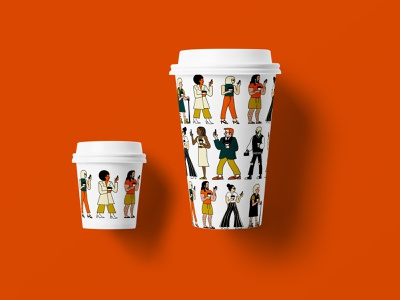 People Watching Coffee Co Coffee Cups digitalart pattern art pattern design branding design brand illustration illustration