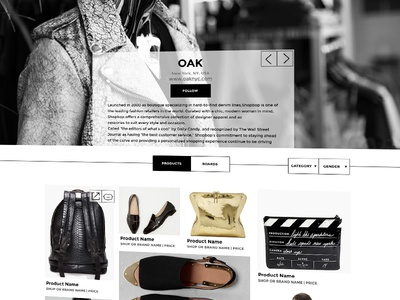Shop Page for Retail Website