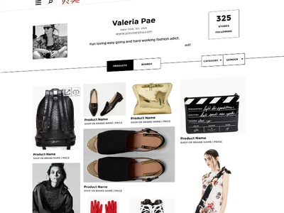 User Page for Retail Website