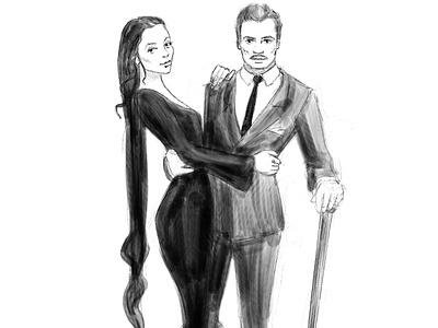 Addams Family - Patricia and Gomez portrait costume character penwork line art illustrator illustration gomez patricia addams family addams