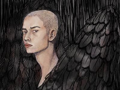 Dark Wings model bald man handsome demon angel portrait penwork character line art illustrator illustration