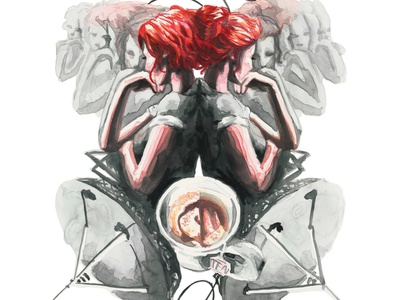 Unrequited Signals tara abrishami quantum shorts quantum shorts universe alternate time woman watercolor ink red hair satelite sci fi portrait character illustrator illustration