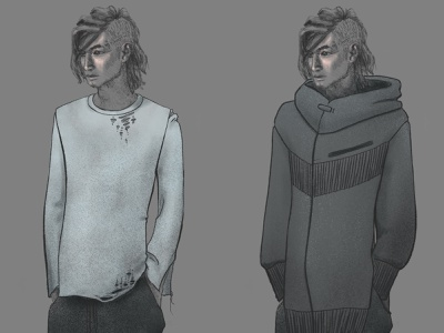 Neuromancer - Henry Dorsett Case william gibson costume portrait character line art illustrator illustration sci fi neuromancer