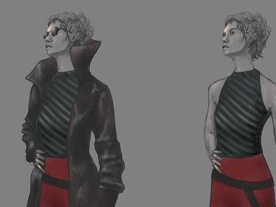 Neuromancer - Molly Milions wiliam gibson molly millions neuromancer costume portrait character line art illustrator illustration