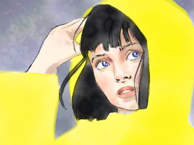 Yellow Raincoat weather rain yellow fashion costume character portrait illustrator illustration