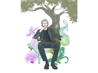 Neil Gaiman fresco procreate writter novelist fiction fantasy character portrait illustrator illustration