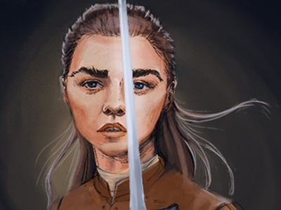 Arya Stark digital painting sword strong woman fantasy game of throne arya stark