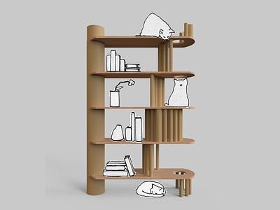Cats on a Shelf advertising furniture shelf cat