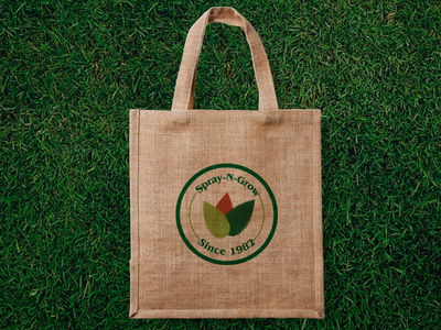 Spray-N-Grow logo on bag logo branding