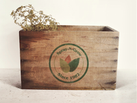 logo design on wooden box